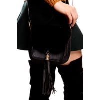 LolliCoutureblack leather fur material purse