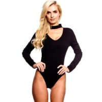 LolliCoutureblack ribbed accent round neckline long sleeve body suit