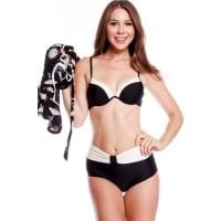 LolliCoutureblack white padded chest hi waist bottoms three piece swimsuit