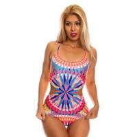 LolliCoutureblue multi bright color one piece swimsuit