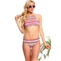 LolliCouturecoral multi striped design padded chest two piece swimsuit bathing suits beachwear