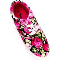 LolliCouturefuchsia multi print design laces textured fabric material casual sneakers