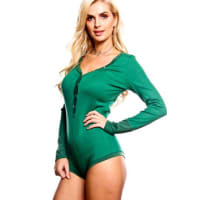 LolliCouturegreen scoop neckline button accents long sleeve bodysuit