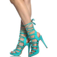 LolliCouturegreen suede material open toe lace up platform high heels