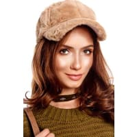 LolliCouturekhaki faux fur baseball hat
