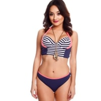 LolliCouturenavy multi print padded chest two piece swimsuit