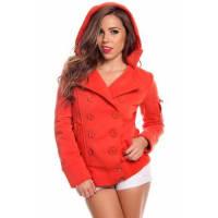 LolliCoutureorange double breasted button hooded fleece jacket coat