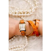 LolliCouturetan faux leather band wrap around design watch