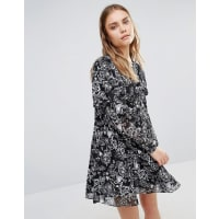 Lost Ink.Smock Dress With Frill Detail - Black