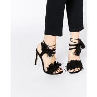 Lost Ink.Ruffle Fringe Lace Up High Heeled Sandals - Black
