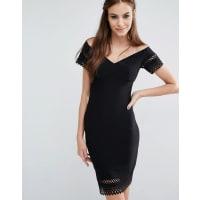 LoveLaser Cut Off Shoulder Dress - Black
