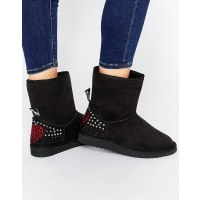 Love MoschinoBlack Embellished Faux Suede Pull On Boots