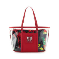 Love MoschinoJungle Clear Tote Bag, Black/Red