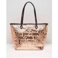 Love MoschinoMetallic Copper Logo Shopper Bag - Rame