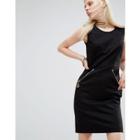 Love MoschinoPencil Dress With Peace Zip - Black