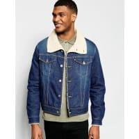Love MoschinoGiacca di jeans con colletto in montone - Blu