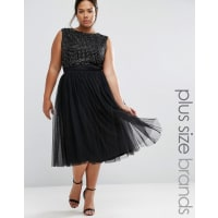 LovedrobeEmbellished Tulle Skirt Midi Dress - Black