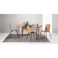 Made.comRyland set van eettafel en 4 stoelen, eiken en zwart