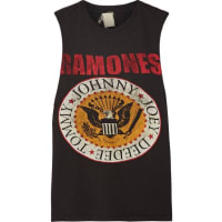 MadeWornRamones Distressed Printed Cotton-jersey Tank - Black