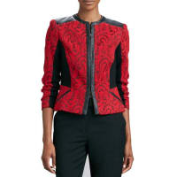 MagaschoniTextured Jacquard Leather-Trim Jacket