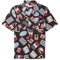 Maison KitsunéCamp-collar Printed Cotton-poplin Shirt - Black