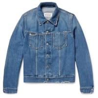 Maison Martin MargielaCorduroy-trimmed Distressed Denim Jacket - Blue