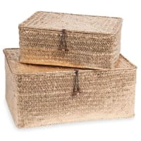 Maisons du monde2 cajas trenzadas doradas L 19 y L 22 cm