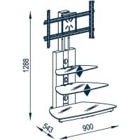 Maja MöbelTV-Rack, »1618«, Breite 90 cm, grau, mit Aufbauservice, Metall Alu-Schwarzglas