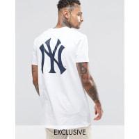 MajesticNew York Yankees - Langes T-Shirt, exklusiv bei ASOS - Weiß