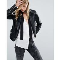MangoFaux Leather Stud Detail Biker Jacket - Black