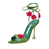 Manolo BlahnikXacaxtus Ankle-Wrap 100mm Sandal, Green/Fuchsia
