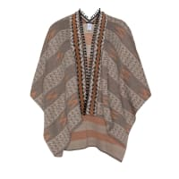 Manon BaptistePlus Size Fine knit patterned tassel cape