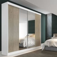 MantoGuarda-Roupa Manto Móveis Erbaa 2 Portas de Correr com Espelho e 6 Gavetas - Branco/Malbec