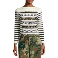 Marc JacobsAnimal-Sequin Striped Sweater, Navy/Off White