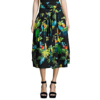 Marc JacobsBelted Parrot-Print A-Line Midi Skirt, Black/Multi