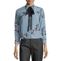 Marc JacobsFloral Gingham Tie-Neck Blouse, Green/Multi