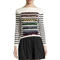 Marc JacobsSequined Striped Long-Sleeve Sweater, Navy/Off White