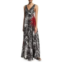 Marc JacobsSleeveless Palm-Print V-Neck Gown, Black