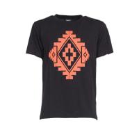 Marcelo BurlonT-Shirt Nera con Stampa Staff Arancio