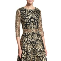 Marchesa3/4-Sleeve Embroidered Top