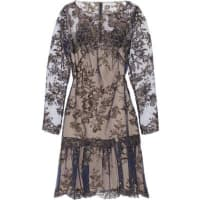 MarchesaAppliquéd Tulle Mini Dress - Navy