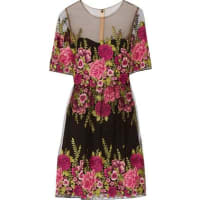 MarchesaEmbroidered Tulle Dress - Black