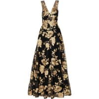 MarchesaEmbroidered Tulle Gown - Black