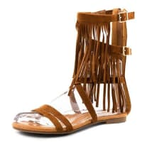 MarimoHohe Römer Sandalen Sommer Schuhe mit Fransen und Reißverschluss Camel 41
