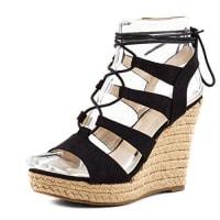 MarimoStylische Damen Plateau Riemchen Lace Up Sandalen Keilabsatz Bast Sommer Schuhe Schwarz 37