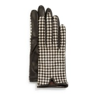 Mario PortolanoHoundstooth-Print Calf Hair & Leather Gloves
