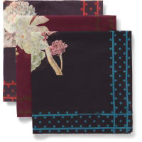 Massimo AlbaSet Of Three Floral-print Cotton Pocket Squares - Lila