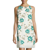 Max StudioFloral-Embroidered Halter Dress, Blue/Green