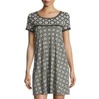 Max StudioGeometric-Print T-Shirt Dress, Black/Ivory