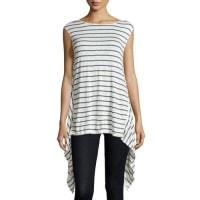 Max StudioLinen-Blend Striped Knit Tunic, Natural/Pacific
